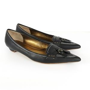 J Crew Italy Pointed Toe Leather Flats/Loafers 9